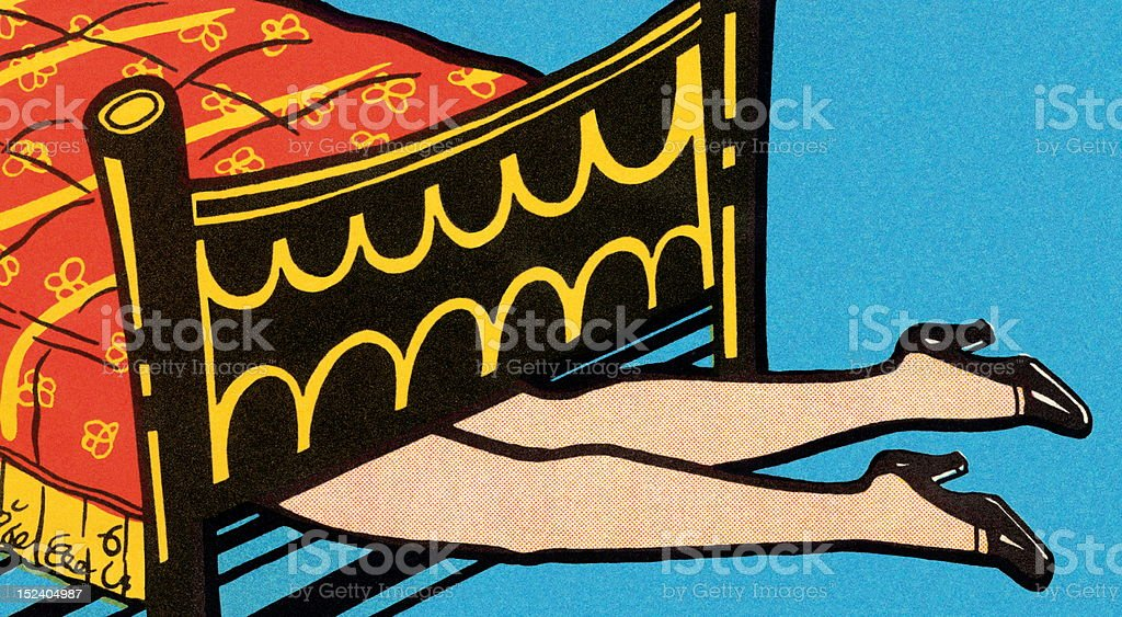 Woman's Legs Under Bed royalty-free stock vector art