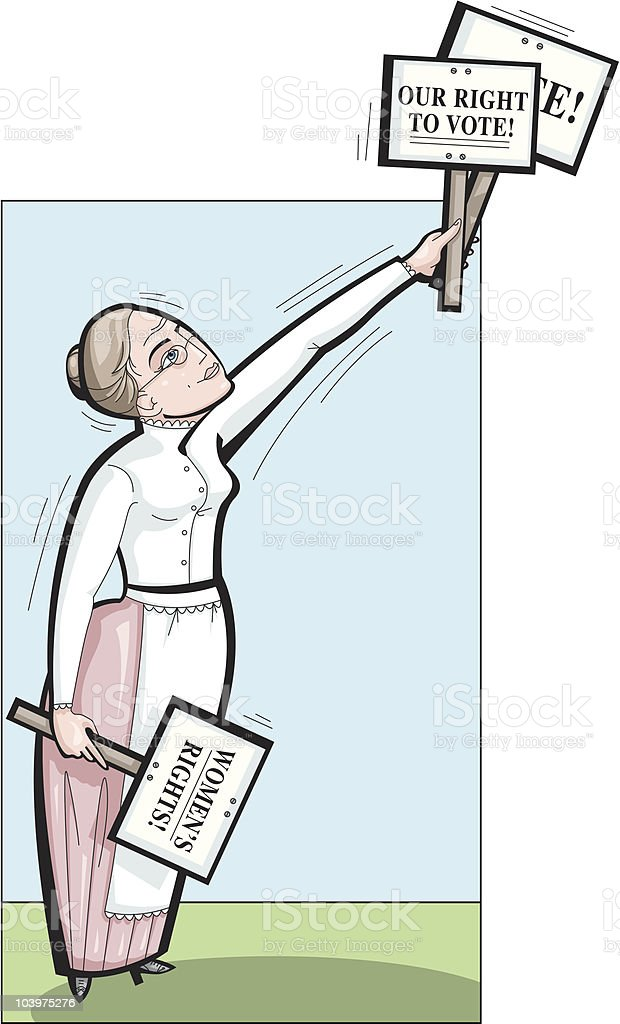 Woman's suffrage or right to vote vector art illustration