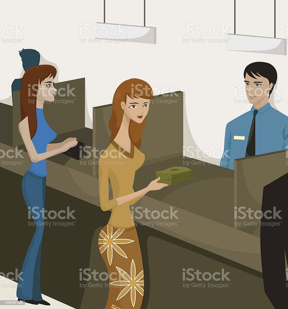 women at bank tellers vector art illustration