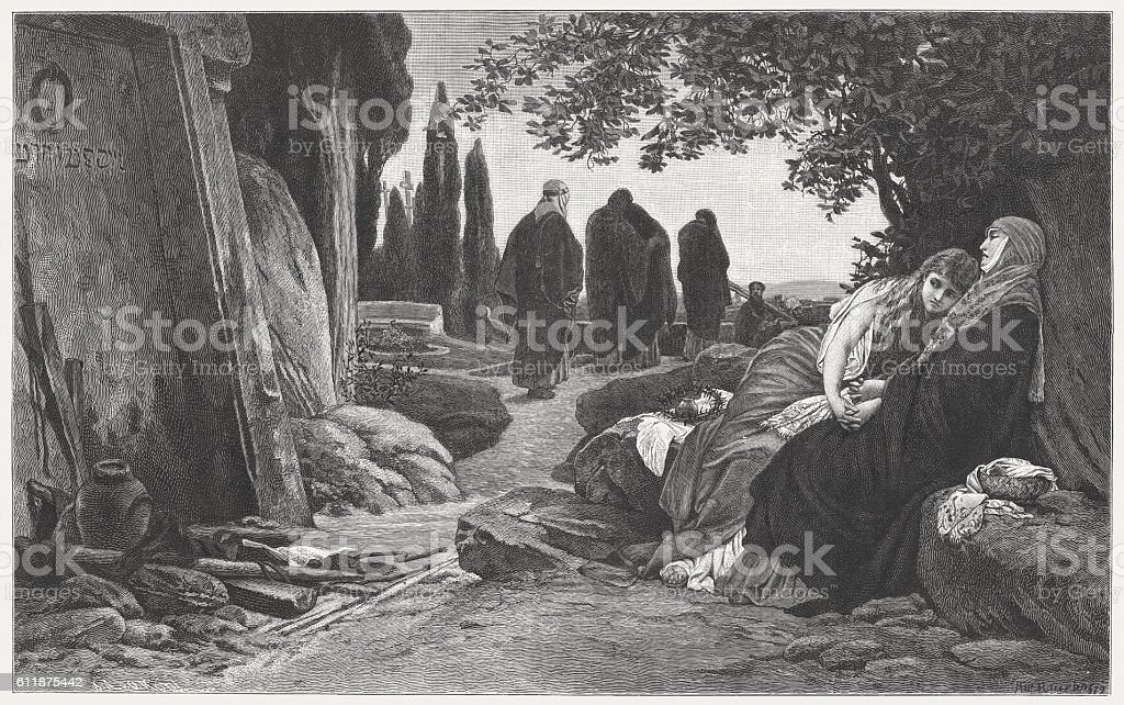 Women at the Tomb of Christ, by Albert Baur, 1882 vector art illustration