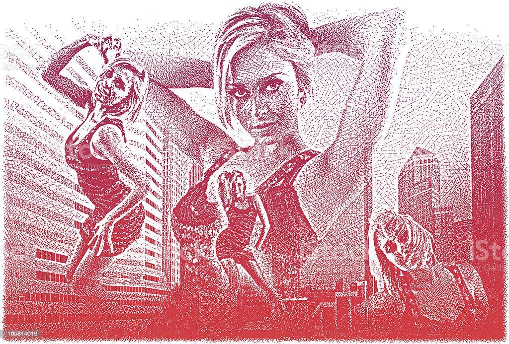Women Enjoying City Life royalty-free stock vector art