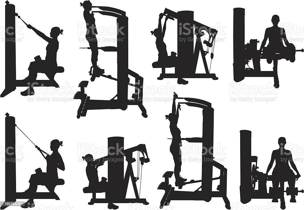 Women exercising in a gym vector art illustration