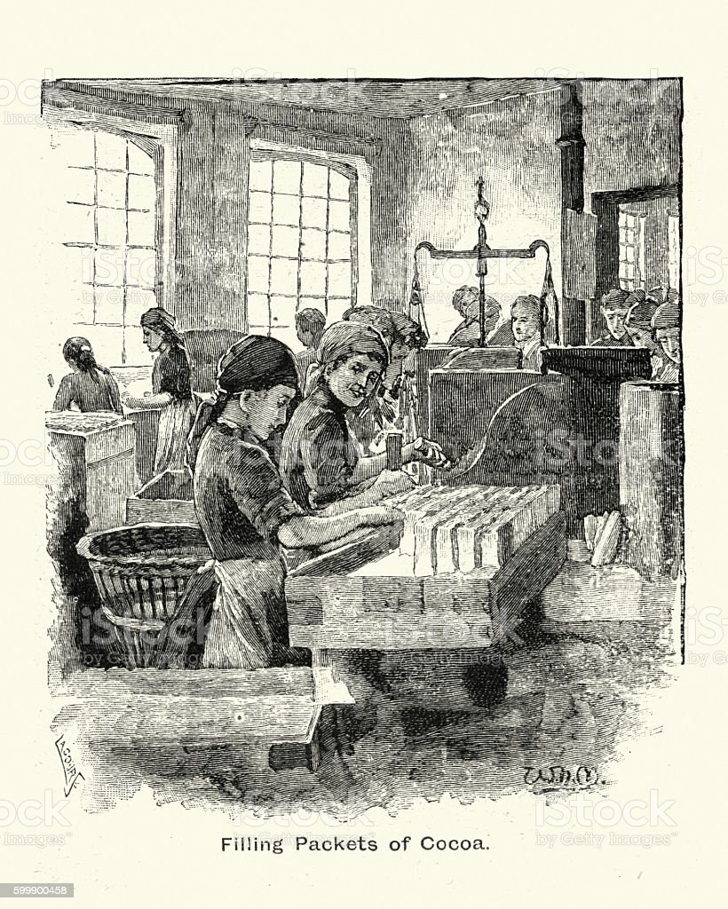 Women filling packets of Cocoa at Fry's Chocolate factory, 1894 vector art illustration
