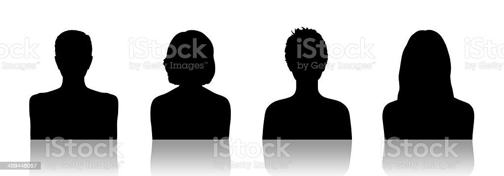 women id silhouette portraits set 2 vector art illustration