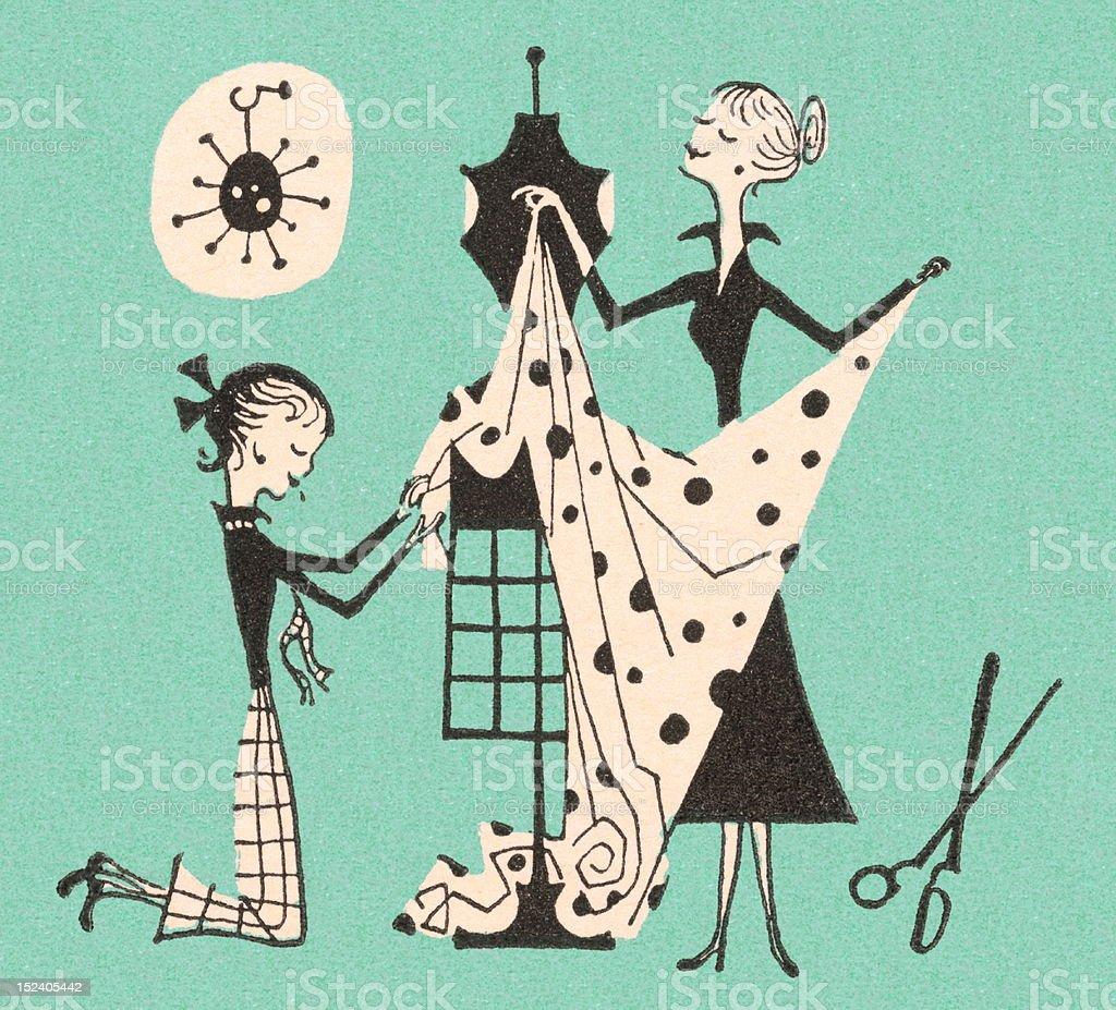 Women Making Dress vector art illustration