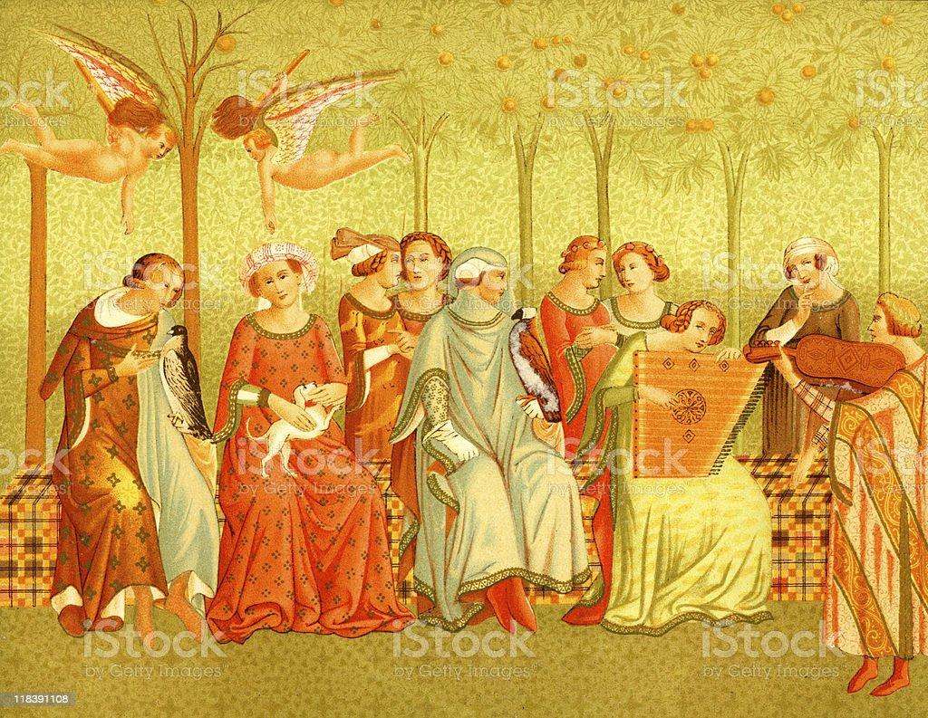 Women of the Renaissance in Italy vector art illustration