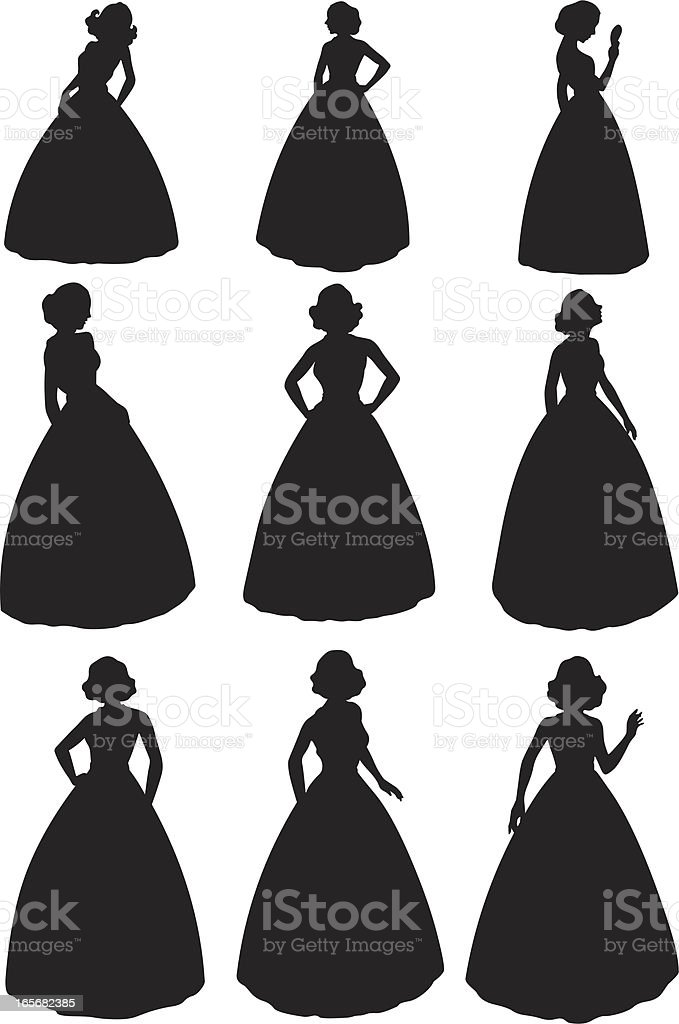 Women posing in gowns vector art illustration