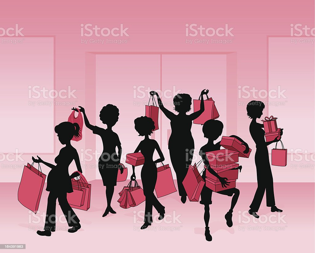 Women Shopping royalty-free stock vector art