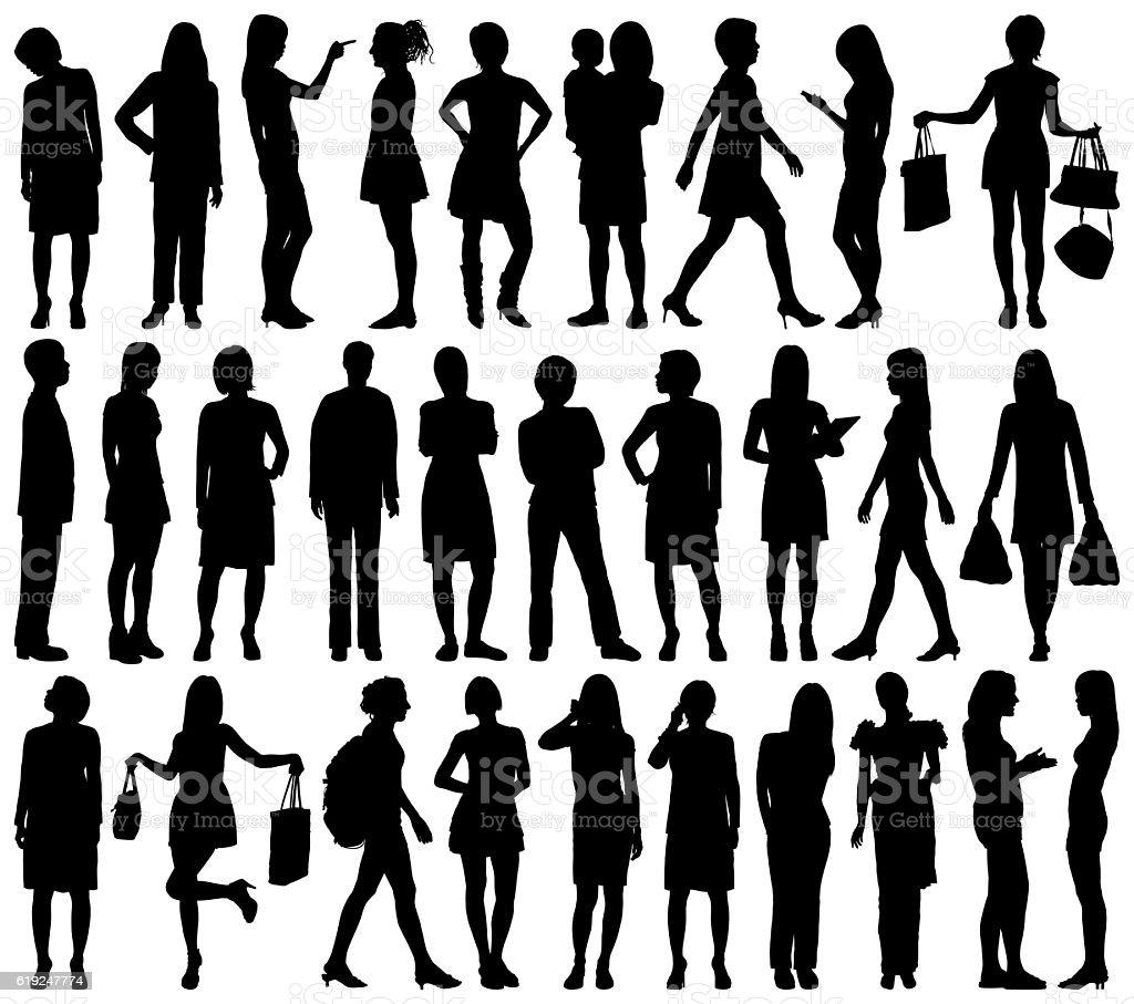 Women Silhouettes, Isolated on White vector art illustration