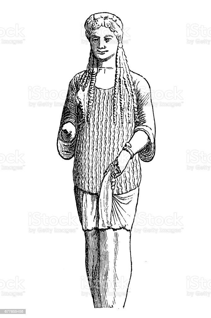 Women statue vector art illustration