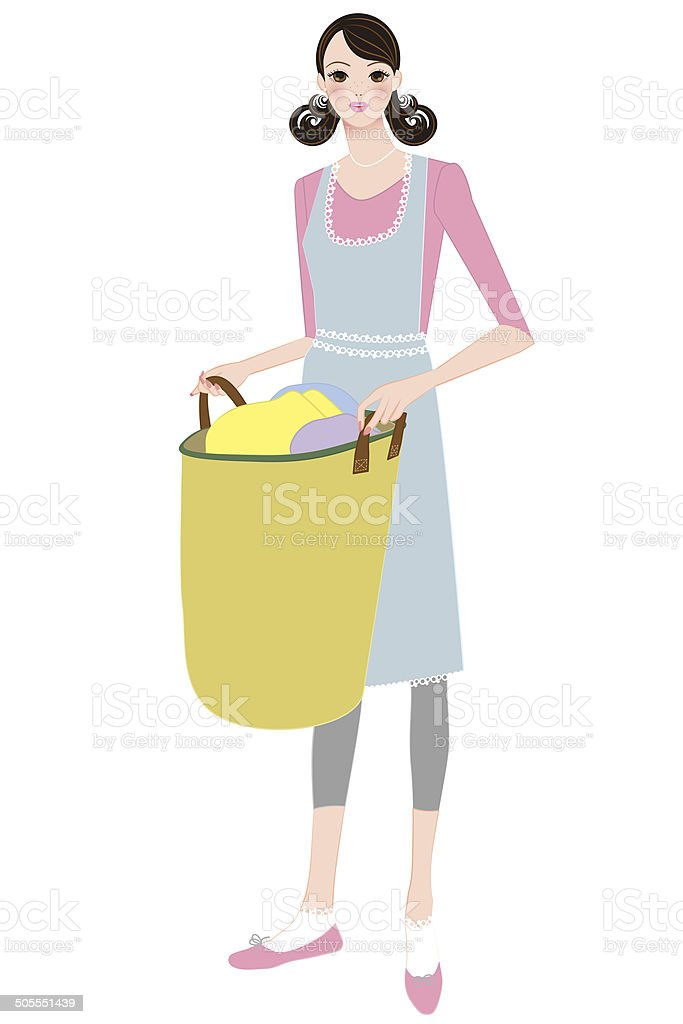 Women with laundry bag vector art illustration