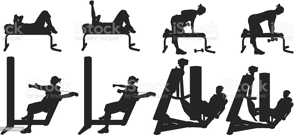 Women working out with free weights and machines royalty-free stock vector art