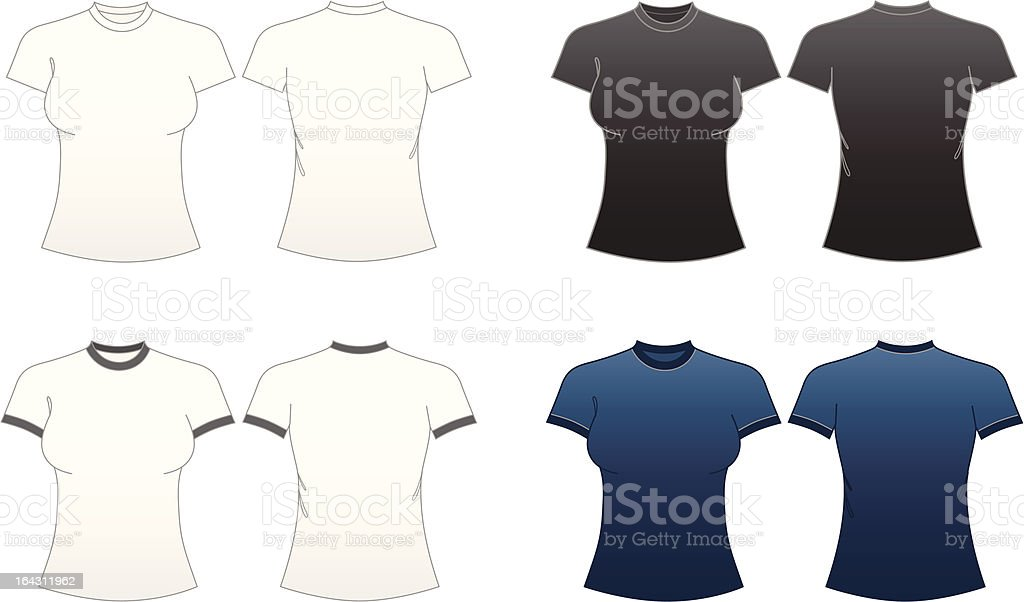Women's Fitted T-shirt Templates-Series 1 vector art illustration
