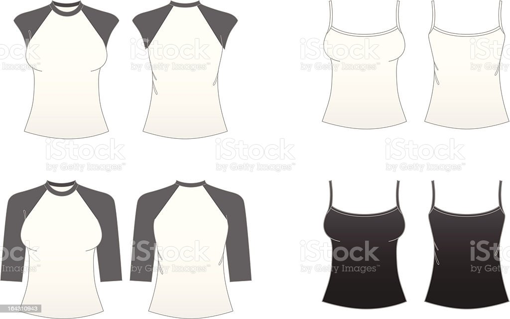 Women's Fitted T-shirt Templates-Series 3 royalty-free stock vector art