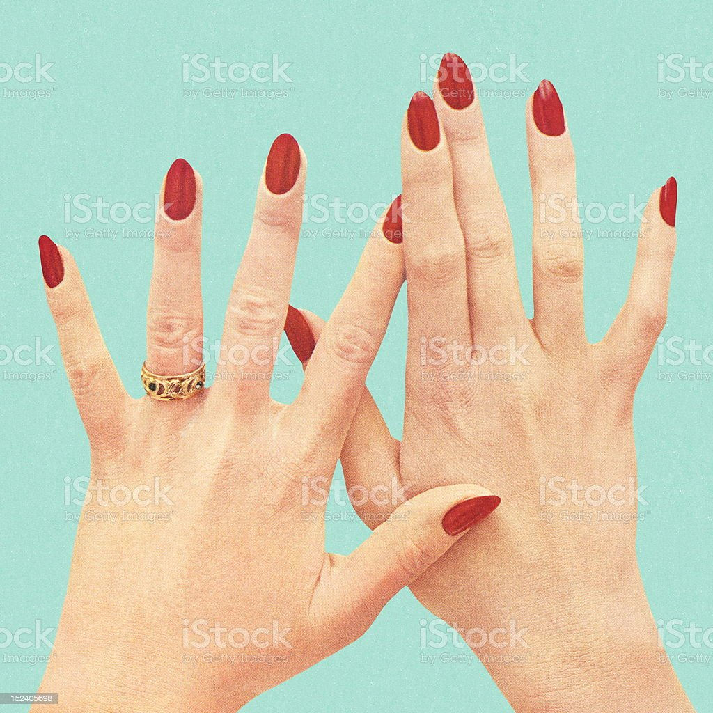 Women's Hands With Red Polish vector art illustration