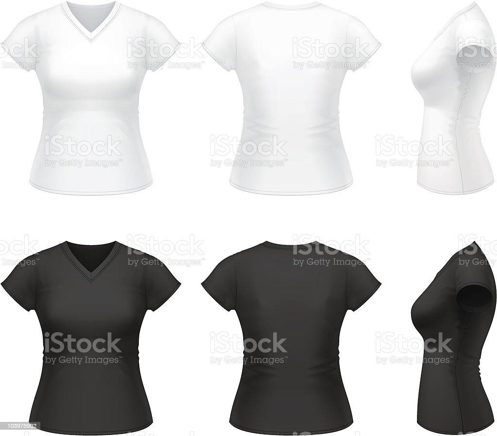Women's V-neck t-shirt vector art illustration