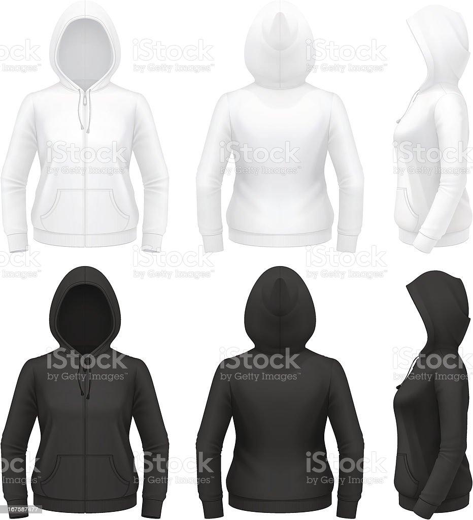 Women's zip hoodie with pockets royalty-free stock vector art