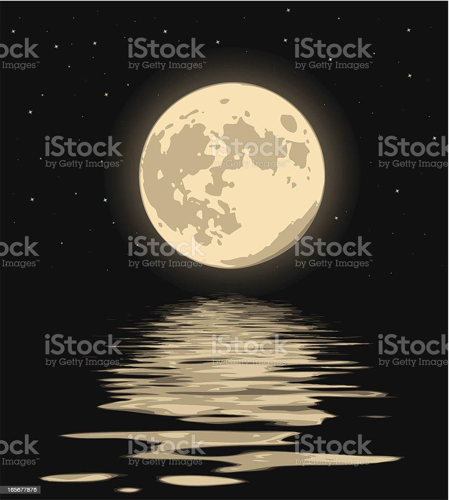 wonderful night moon vector art illustration