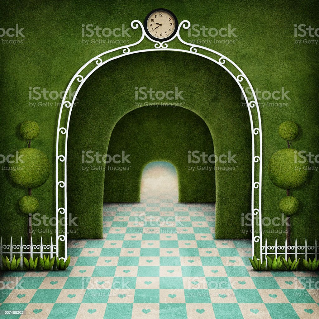 Wonderland background vector art illustration