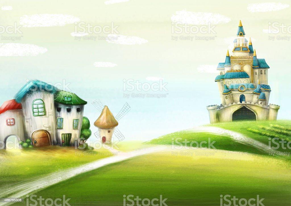 Wonderland country vector art illustration