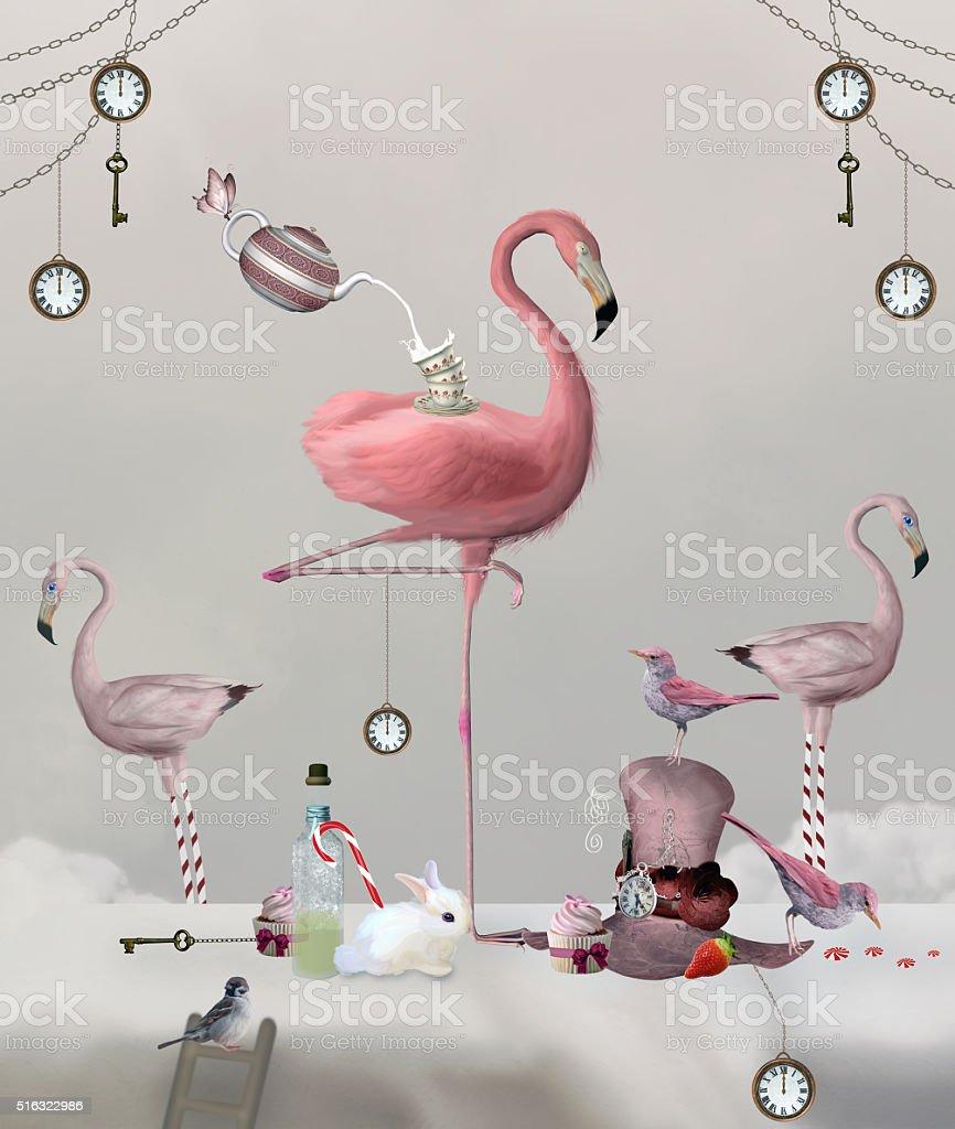 Wonderland series - Flamingo tea party vector art illustration