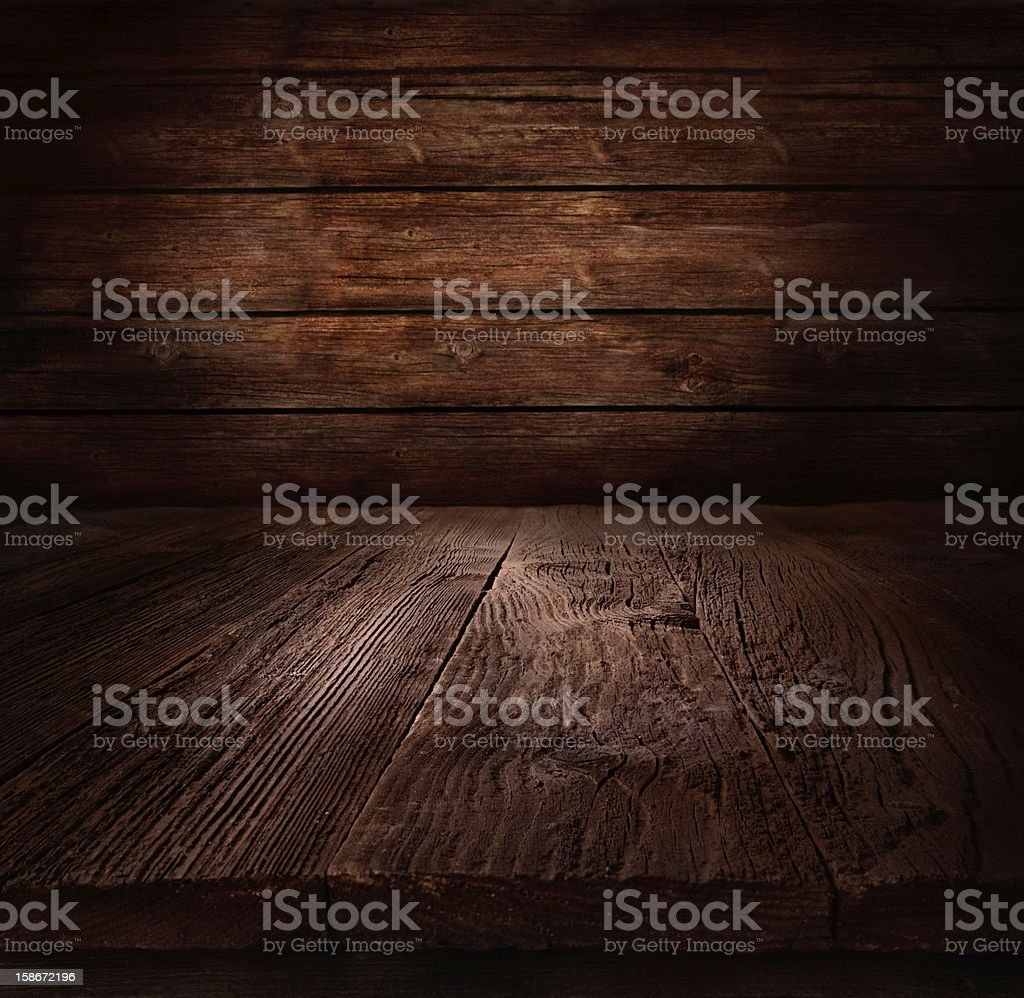 Wood background - table with wooden wall vector art illustration