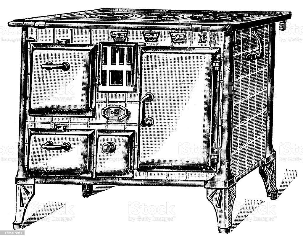 Wood burning kitchen stove | Antique Design Illustrations vector art illustration