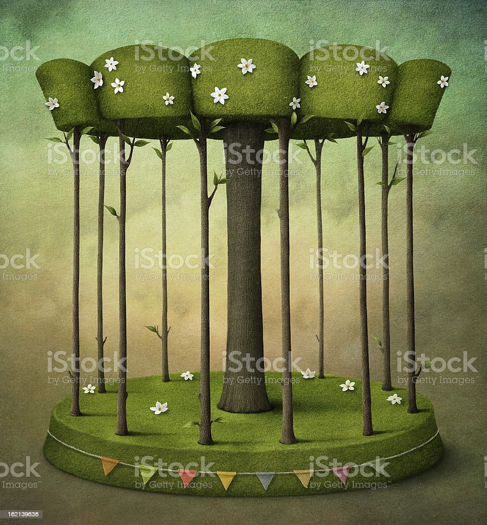 Wood Carousel vector art illustration