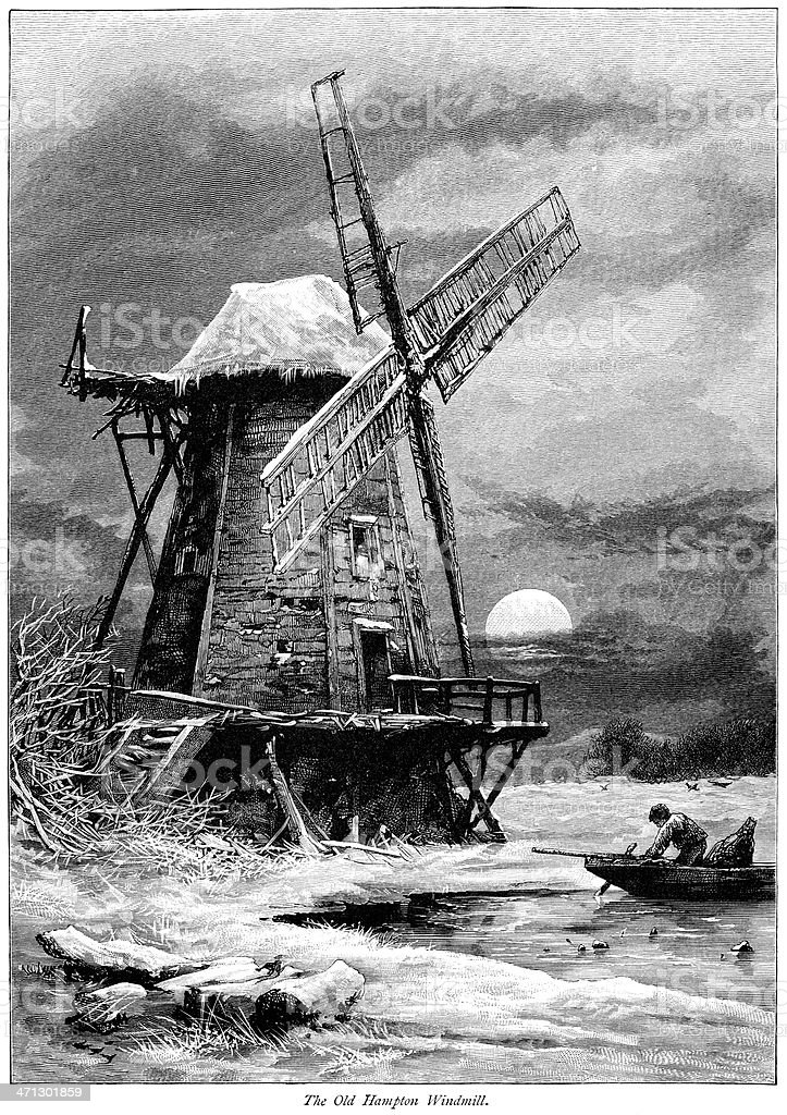 Wood engraving of Old Hampton windmill by moonlight (1875) vector art illustration