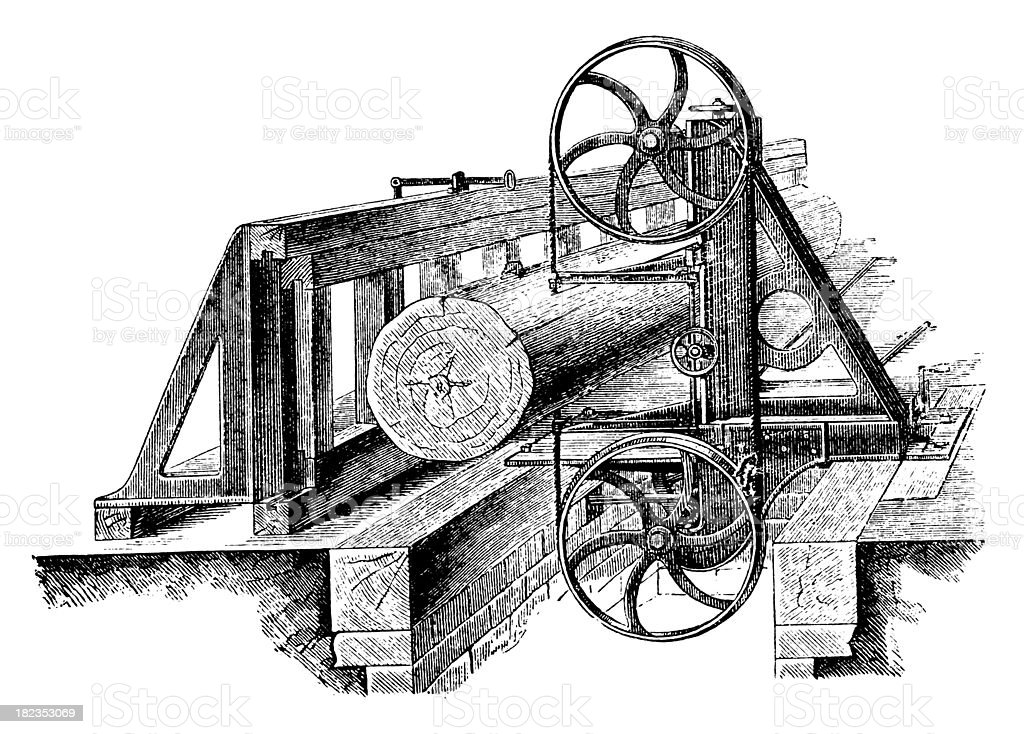 Wood Processing Machine | Antique Technical Illustrations royalty-free stock vector art