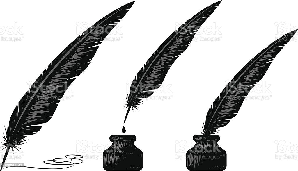 woodblock quill vector art illustration