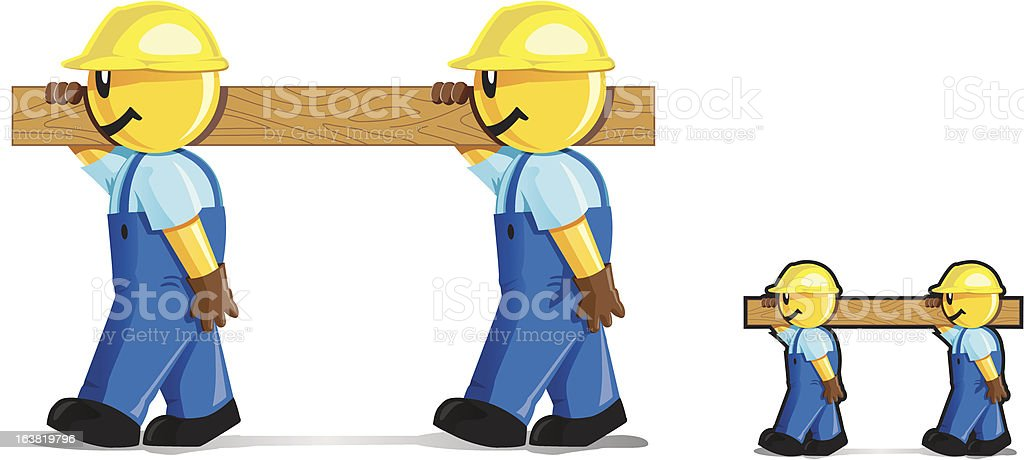 Woodcarriers vector art illustration