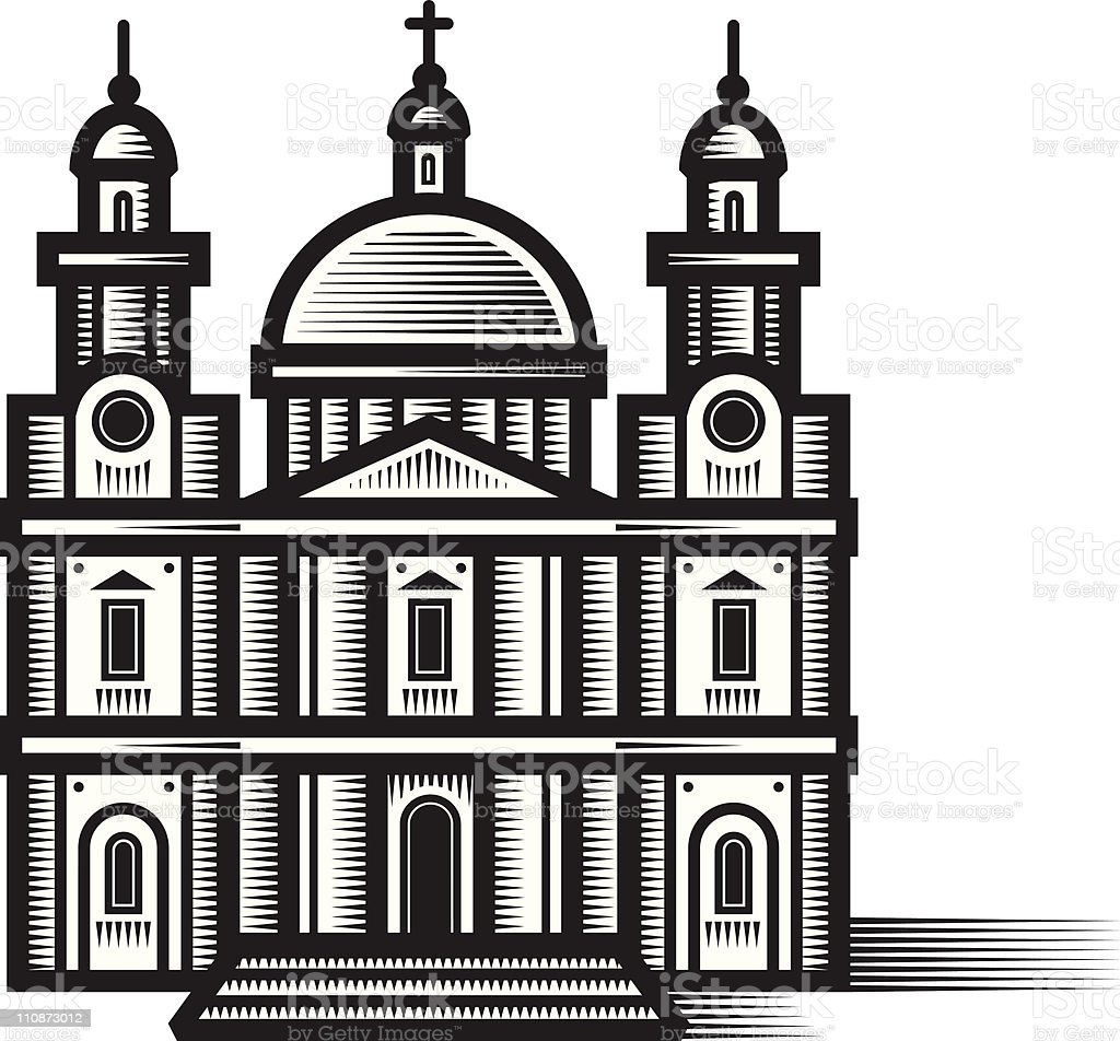 Woodcut cathedral. vector art illustration