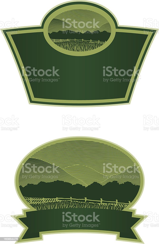 Woodcut Country Scene Label royalty-free stock vector art