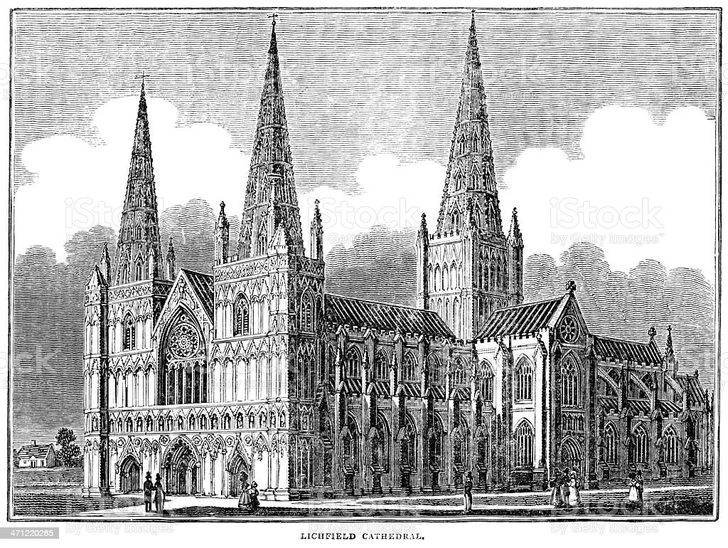 Woodcut from 1833 - Lichfield Cathedral royalty-free stock vector art