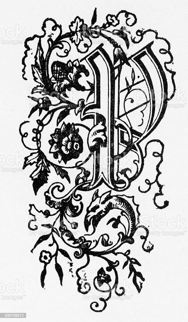 "Woodcut of a Capital ""P"" Ornate Victorian Engraving, Circa 1892 vector art illustration"