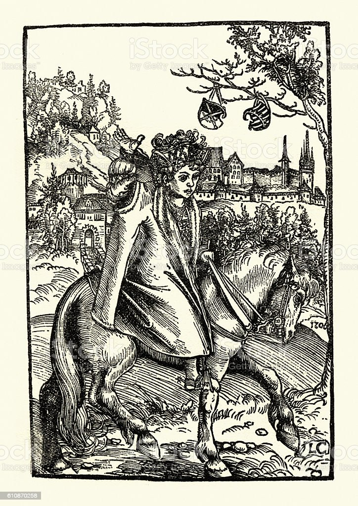 Woodcut of a woman on a horse by Lucas Cranach vector art illustration