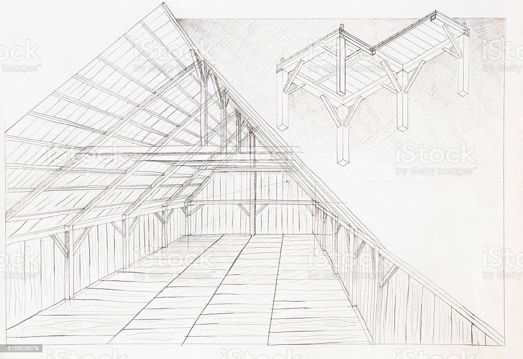 wooden attic, architectural sketch vector art illustration