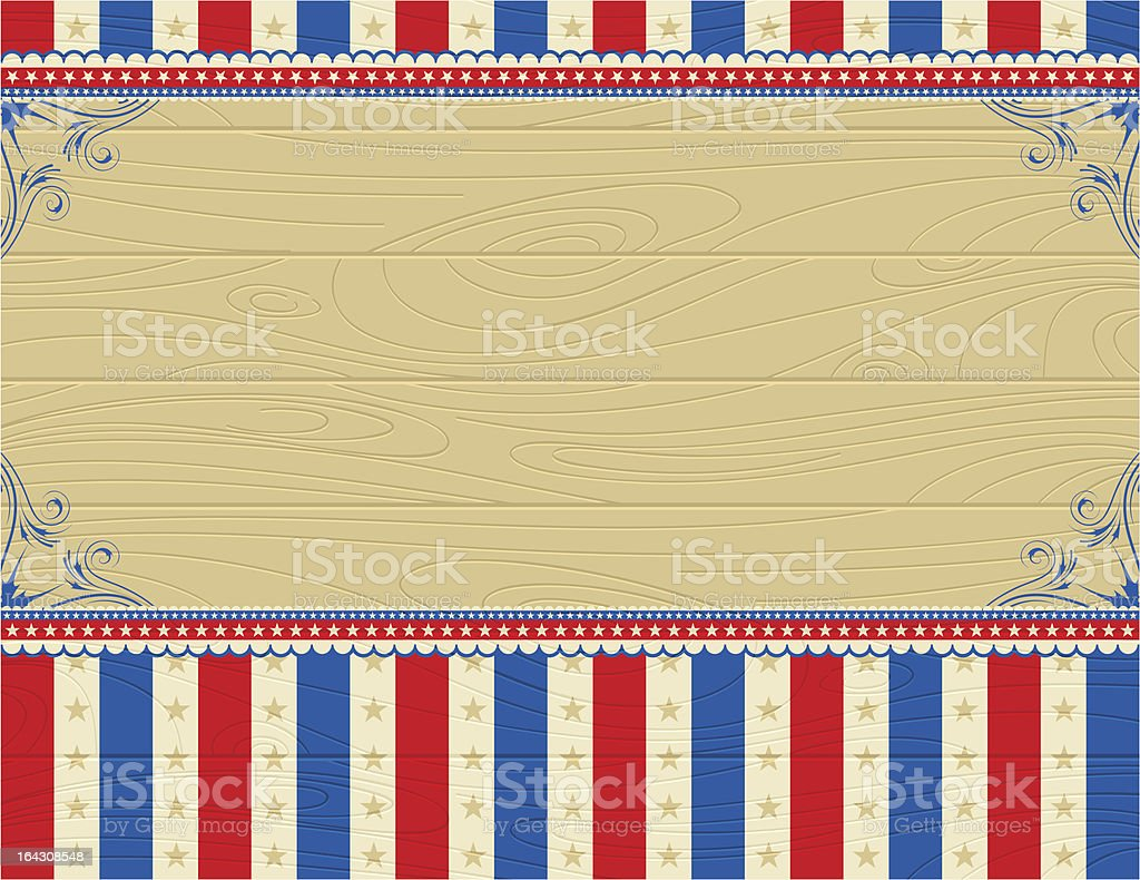 USA wooden background with stars and  decorative frames royalty-free stock vector art
