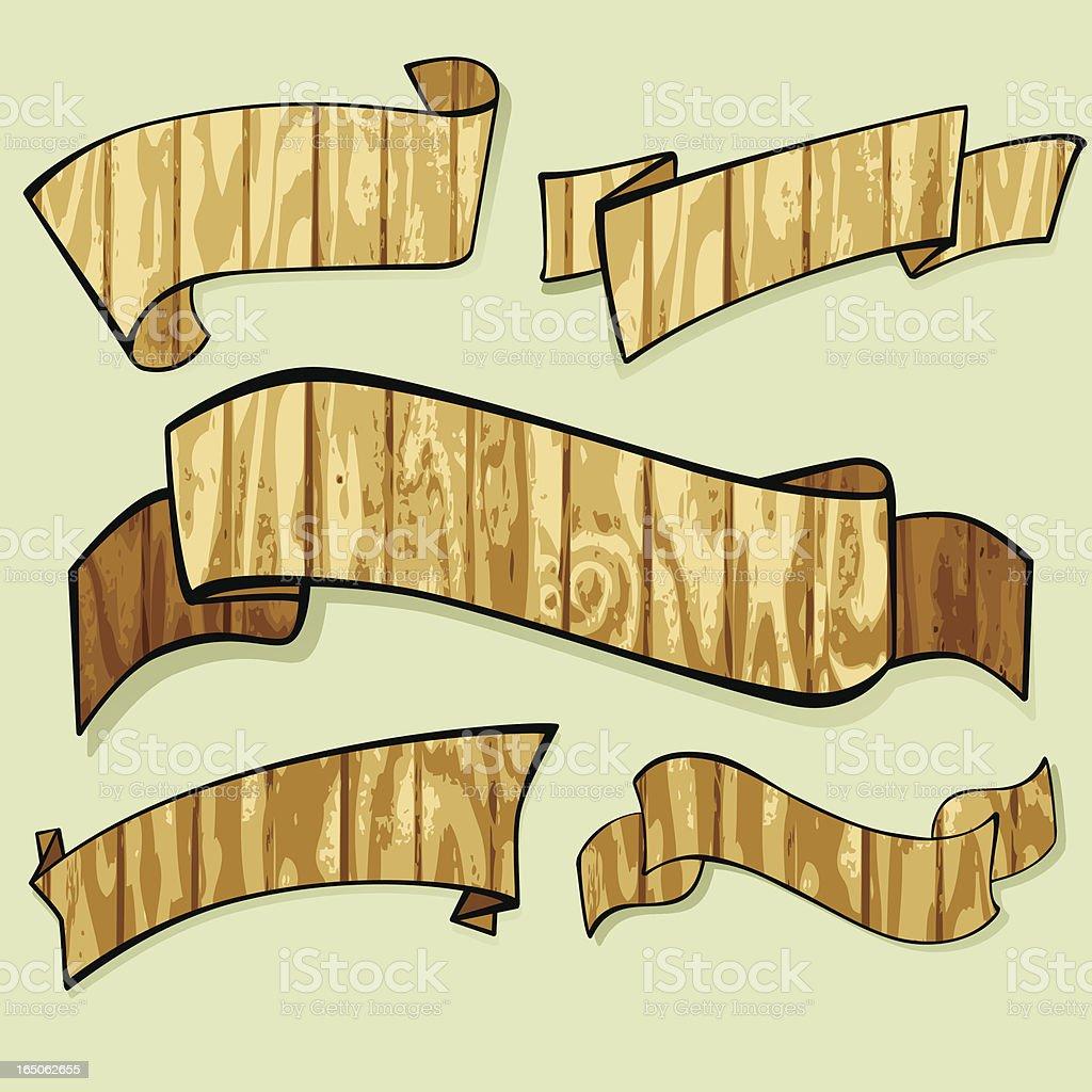 Wooden Banners vector art illustration