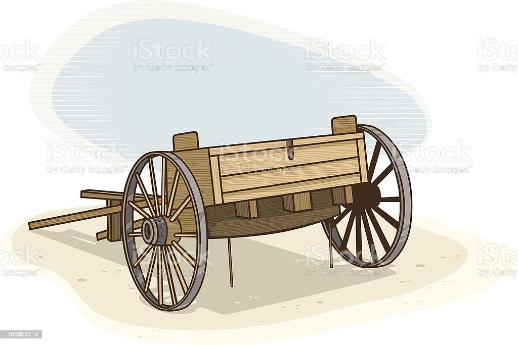 Wooden Cart vector art illustration