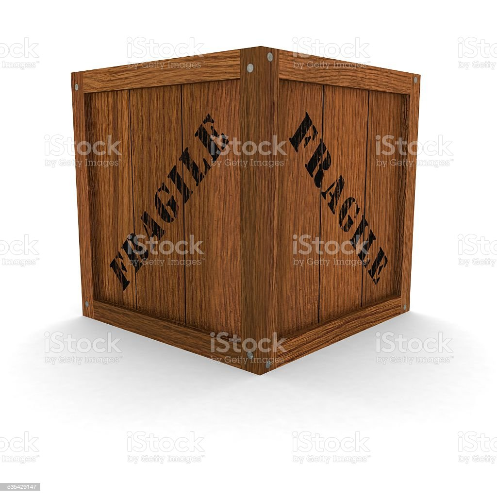 Wooden Crate - Fragile vector art illustration