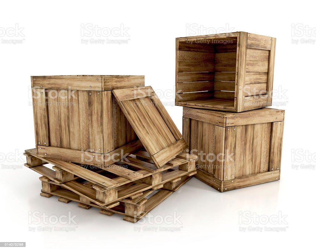 wooden crates vector art illustration