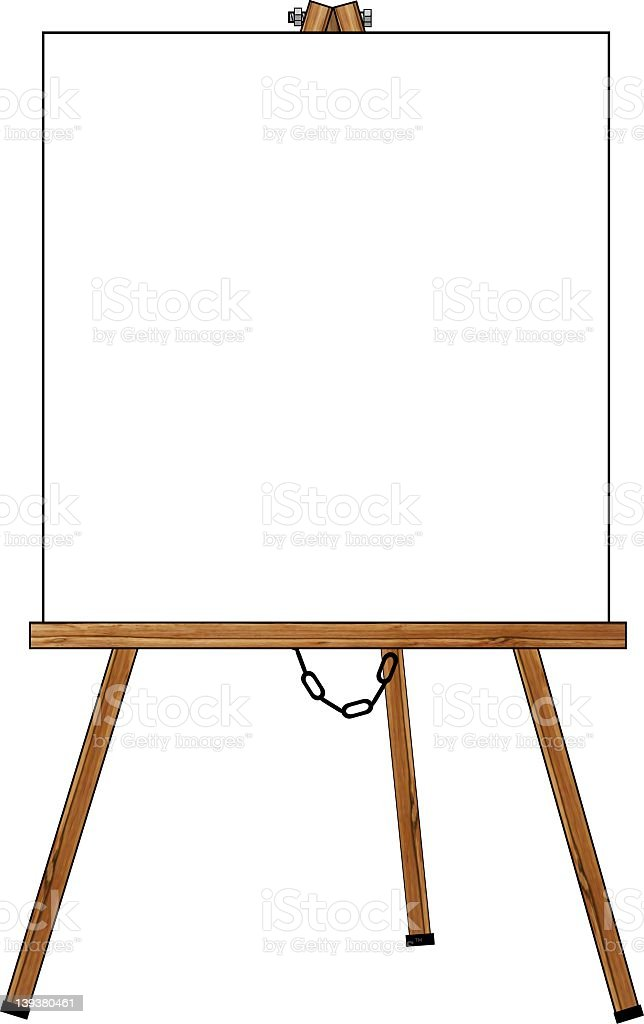 Wooden Easel with a blank poster royalty-free stock vector art