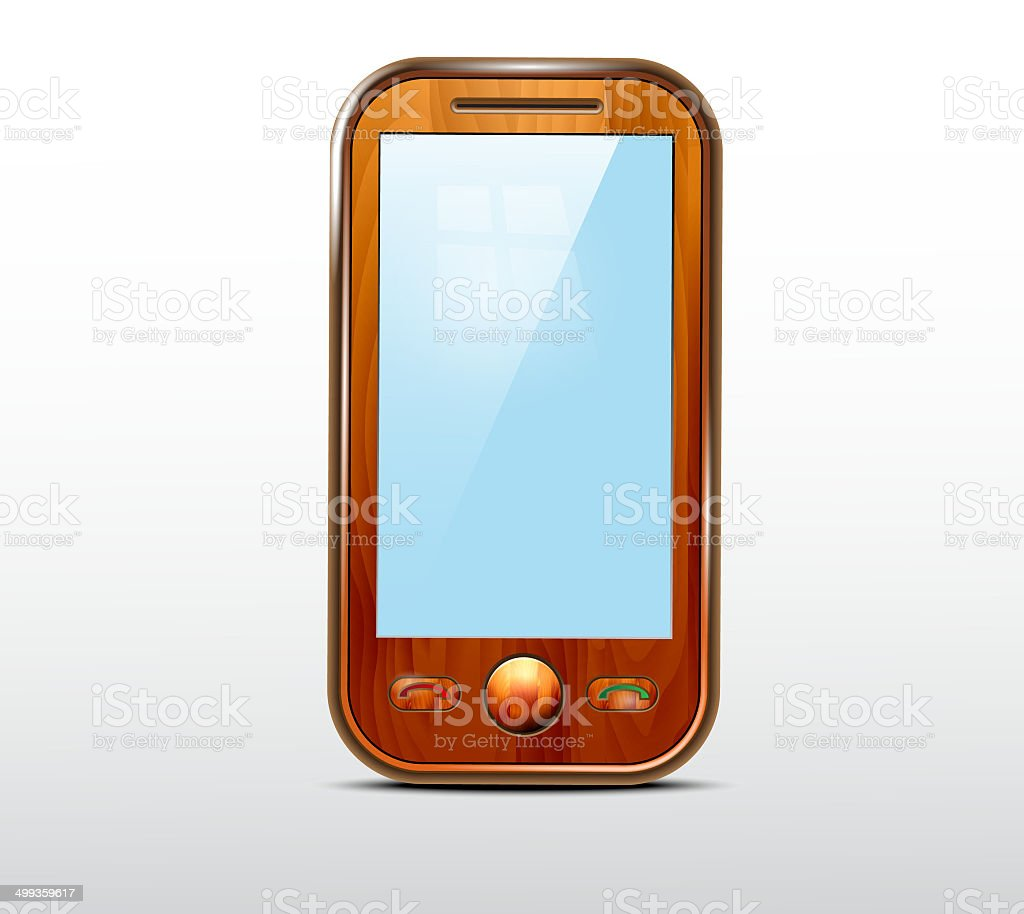 Wooden mobile phone icon royalty-free stock vector art