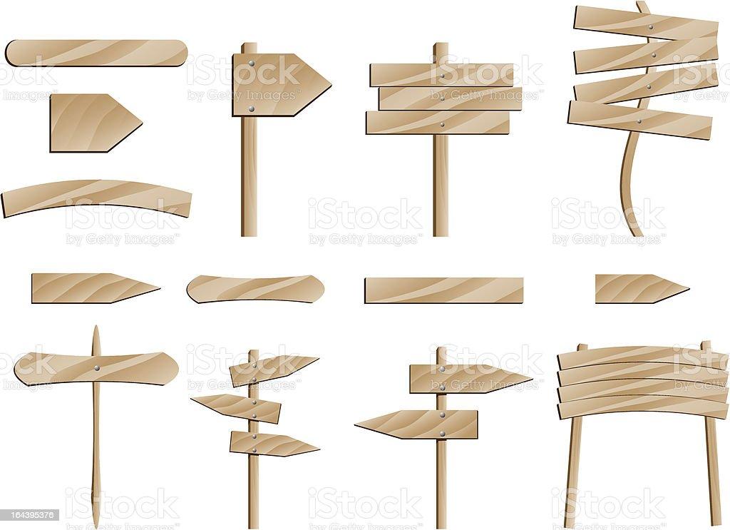 wooden road signs illustrated vector art illustration