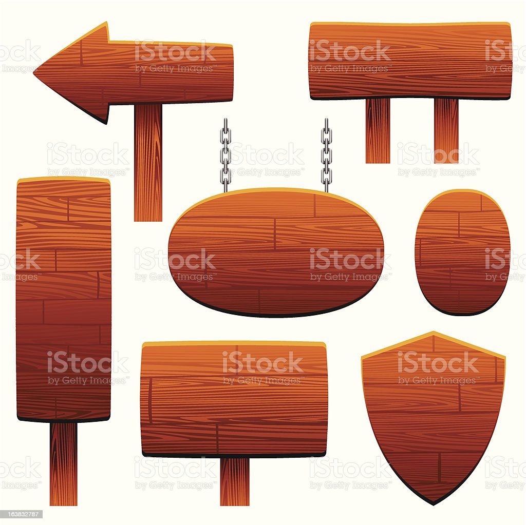 wooden sign set royalty-free stock vector art