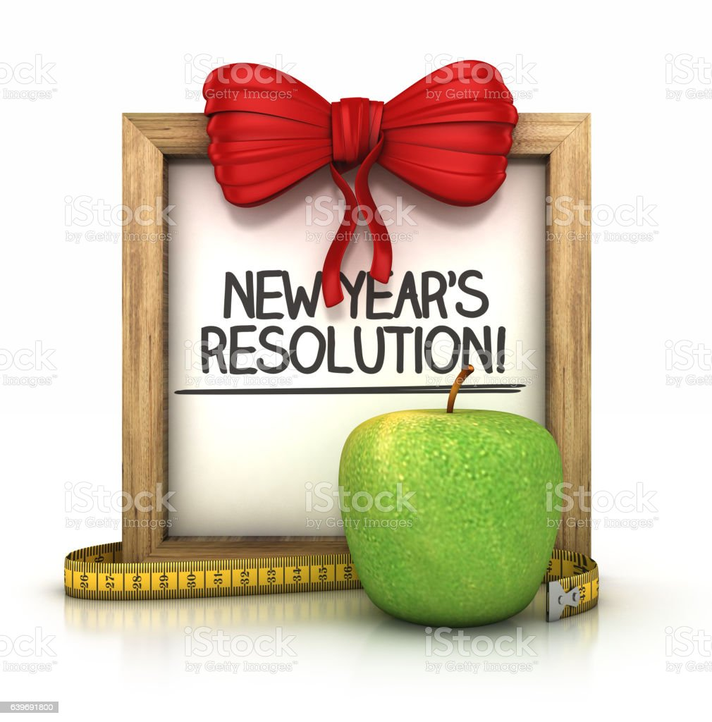 wooden signboard with New year's resolution note. vector art illustration