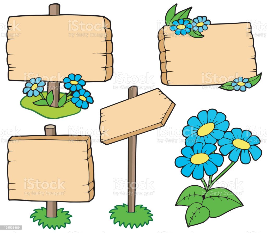 Wooden tables with flowers collection royalty-free stock vector art