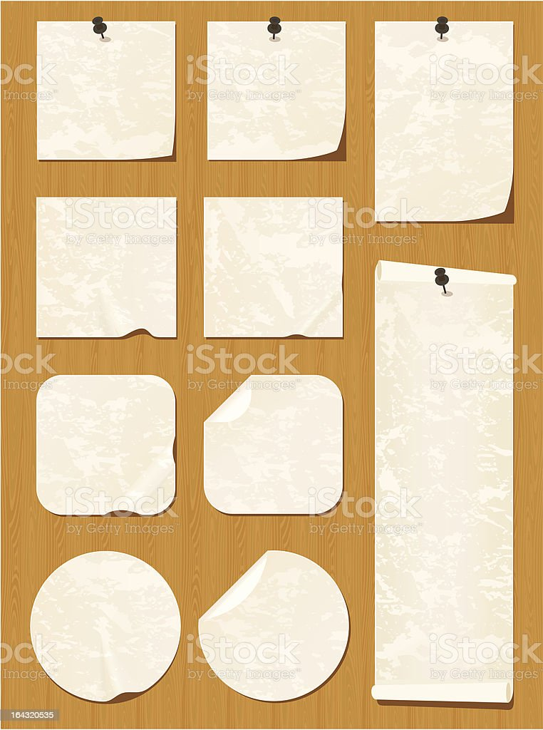 Wood-textured bulletin board with beige notes royalty-free stock vector art